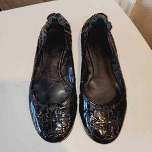 TORY BURCH Faux Croc Slip On Patent Black Loafers
